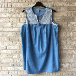 Old Navy Sleeveless Embroidered Top Dress XXL 🌸